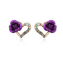 preiswerte Ohrringe-Damen Kristall Ohrstecker - Kubikzirkonia Rosen, Herz, Blume Purpur / Rot / Blau Für