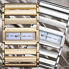 ASJ Women's Dress Watch Japanese Quartz Hollow Engraving Alloy Band Bangle Silver Gold