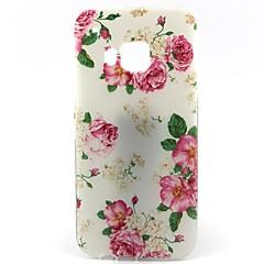 hvid bund rose mønster blød TPU Taske til HTC m9 / HTC One m9