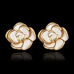 preiswerte Ohrringe-Damen Ohrstecker - vergoldet, 18K vergoldet Rosen, Blume Gold