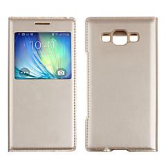 halpa Galaxy A5 kotelot / kuoret-Etui Käyttötarkoitus Samsung Galaxy Samsung Galaxy kotelo Ikkunalla Flip Suojakuori Yhtenäinen väri PU-nahka varten A5