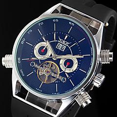 WINNER Hombre Reloj de Pulsera El reloj mecánico Cuerda Automática Calendario Caucho Banda De Lujo Negro Blanco Negro