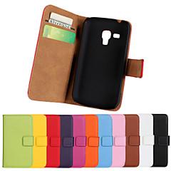 lederen full body flip case met kaartslot en staan case voor Samsung Galaxy trend plus s7580 / trend duos s7562