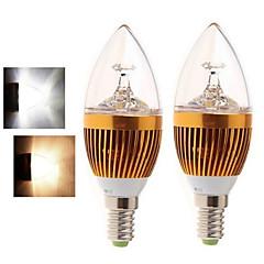 billige LED lyspærer-2pcs 4W 400-450 lm E14 LED-stearinlyspærer 5LED leds COB Varm hvid Kold hvid 2800-3500/6000-6500K Vekselstrøm 85-265V
