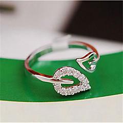 お買い得  指輪-女性用 カフスリング 調節可能なリング  -  キュービックジルコニア, ラインストーン, ゴールドメッキ リーフ シンプル, ベーシック, ファッション 調整可 ゴールド / シルバー 用途 デイリーウェア デート / 合金