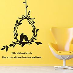baratos -adesivos de parede parede ninho pvc etiquetas amor de pássaro estilo decalques de parede
