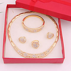 cheap Jewelry Sets-Women's Rhinestone Jewelry Set Rings Earrings Necklace Bracelets & Bangles - Fashion Golden For Wedding Party Daily