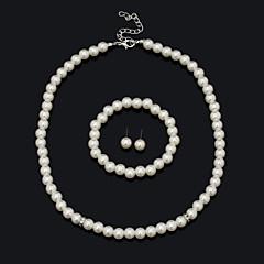 abordables Collares de perlas-Mujer Conjunto de joyas Pulsera Pendientes Collare - Vintage Bonito Fiesta Trabajo Casual Importante Moda Europeo Cuentas Blanco Juego de