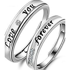 preiswerte Ringe-Paar Eheringe - Sterling Silber, Strass Modisch Verstellbar Silber Für Alltag / Normal