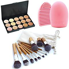 ieftine -11pcs perii machiaj spranceana cosmetice fundație kabuki kituri + 15 culori paleta corector machiaj + instrument de curățare perie