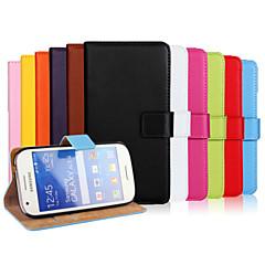 お買い得  Samsung その他の機種用ケース/カバー-ケース 用途 Samsung Galaxy Samsung Galaxy ケース ウォレット / カードホルダー / スタンド付き フルボディーケース ソリッド PUレザー のために Ace Style LTE