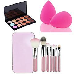 15 kolorów konturu twarzy Krem do twarzy korektor palety + 7PCS różowe pudełko zestaw do makijażu pędzle Zestaw + Powder Puff