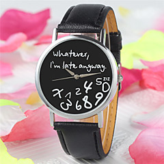 Γυναικεία Μοδάτο Ρολόι Χαλαζίας PU Μπάντα Λεκτικό ρολόι Μαύρο Λευκή