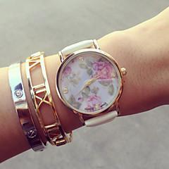 お買い得  レディース腕時計-女性用 クォーツ ブレスレットウォッチ カジュアルウォッチ PU バンド 花型 / ファッション ブラック / 白 / ピンク