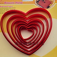 abordables Herramientas y accesorios para hornear-galletas de plástico de moda del cortador de escama corazón postres galletas pastel molde decoración de la cocina para hornear utensilios
