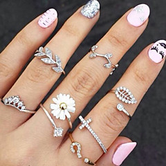 cheap Rings-Women's Knuckle Ring Gold Silver Rhinestone Imitation Diamond Alloy Leaf Flower Basic Fashion Party Daily Casual Costume Jewelry