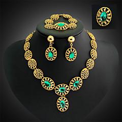 Pendiente / Brazalete / Anillo / Collar (Baño en Oro / Aleación / Diamante Sintético / Piedra Preciosa y Cristal)- Vintage / Fiesta para