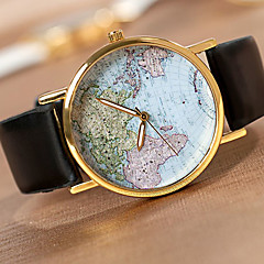 Miesten Rannekello Quartz PU Bändi World Map Pattern