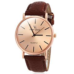 preiswerte Herrenuhren-V6 Herrn Quartz Armbanduhr Armbanduhren für den Alltag PU Band Minimalistisch Schwarz Weiß Braun Gelb