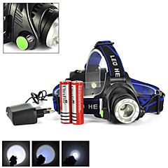 Headlamps Headlight LED 2500 lm 3 4 Mode Cree XM-L T6 with Batteries and Charger Zoomable Rechargeable Camping/Hiking/Caving Hunting
