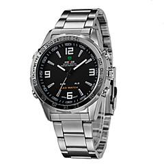 お買い得  メンズ腕時計-WEIDE 男性用 リストウォッチ クォーツ 日本産クォーツ 30 m 耐水 アラーム カレンダー ステンレス バンド アナログ/デジタル ブラック / シルバー - シルバーとブラック ホワイト / シルバー / クロノグラフ付き / LED / 2タイムゾーン