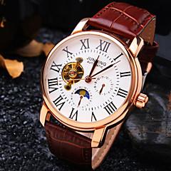 お買い得  大特価腕時計-男性用 自動巻き 機械式時計 リストウォッチ 耐水 透かし加工 レザー バンド ぜいたく ブラック ブラウン