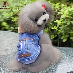voordelige Hondenkleding & -accessoires-Hond Hoodies Denim jacks Hondenkleding Cowboy Modieus Jeans Blauw Kostuum Voor huisdieren