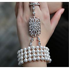 お買い得  ブレスレット-真珠 チェーン&リンクブレスレット  -  真珠 ヴィンテージ, パーティー, オフィス ブレスレット 用途 パーティー