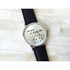 preiswerte Tolle Angebote auf Uhren-Damen Armbanduhr Quartz PU Band Analog Modisch Uhr mit Wörtern Weiß Schwarz Grün Ein Jahr Batterielebensdauer / SSUO 377