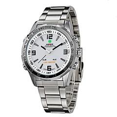 お買い得  大特価腕時計-WEIDE 男性用 リストウォッチ クォーツ 日本産クォーツ 30 m 耐水 アラーム カレンダー ステンレス バンド アナログ/デジタル ブラック / シルバー - シルバーとブラック ホワイト / シルバー / クロノグラフ付き / LED / 2タイムゾーン