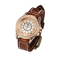 preiswerte Damenuhren-Damen Armbanduhr Quartz Schlussverkauf Leder Band Analog Charme Modisch Wein Hellbraun Dunkelbraun / Edelstahl