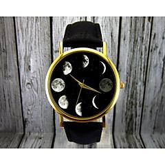 preiswerte Damenuhren-Damen Armbanduhr Quartz Mond Phase Leder Band Analog Modisch Elegant Schwarz / Braun - Schwarz Braun