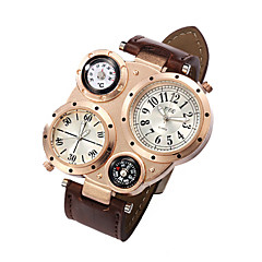 お買い得  大特価腕時計-男性用 クォーツ リストウォッチ 2タイムゾーン レザー バンド チャーム ブラック / 白 / ブルー / ブラウン