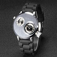 お買い得  大特価腕時計-男性用 ユニークなクリエイティブウォッチ リストウォッチ クォーツ 日本産クォーツ 2タイムゾーン ラバー バンド ブラック