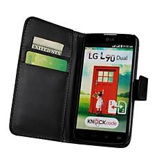 Недорогие Чехлы и кейсы для LG-Кейс для Назначение LG Кейс для LG Бумажник для карт Кошелек со стендом Флип Чехол Сплошной цвет Твердый Кожа PU для