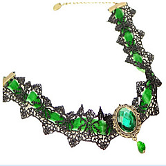 お買い得  ネックレス-女性用 レース チョーカー  -  ファッション 欧風 グリーン ネービーブルー ネックレス 用途 パーティー 誕生日 贈り物