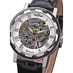 voordelige Bekijk deals-WINNER Heren Polshorloge / mechanische horloges Hol Gegraveerd PU Band Luxe Zwart / Handmatig opwindmechanisme