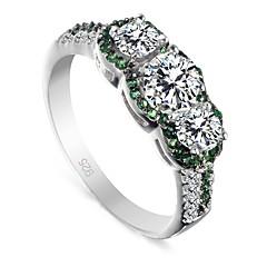 お買い得  指輪-女性用 ステートメントリング  -  純銀製 ファッション 6 / 7 / 8 / 9 白 / グリーン 用途 結婚式 パーティー 日常 / キュービックジルコニア