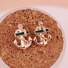 tanie Kolczyki-Damskie Kolczyki na sztyft Kolczyki wiszące Spersonalizowane Modny Pozłacane Kotwica Biżuteria Golden Impreza Codzienny Casual Biżuteria