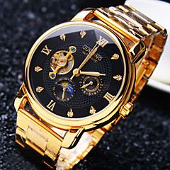 cheap Mechanical Watches-Men's Mechanical Watch Water Resistant / Water Proof / Hollow Engraving / Creative Stainless Steel Band Luxury / Sparkle Gold / Automatic self-winding / Imitation Diamond