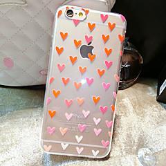 Недорогие Кейсы для iPhone-Кейс для Назначение Apple iPhone 6 iPhone 6 Plus Прозрачный С узором Кейс на заднюю панель С сердцем Мягкий ТПУ для iPhone 6s Plus iPhone