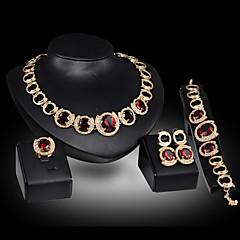 Collar / Pendiente / Brazalete / Anillo (Baño en Oro / Aleación / Piedra Preciosa y Cristal / Zirconia Cúbica)- Bonito / Fiesta para