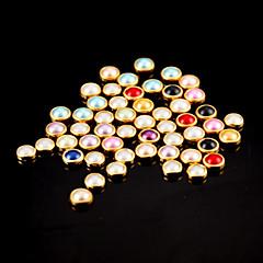 voordelige Nagelsieraden-100 stuks kleurrijke parel metalen randen nail art decoraties