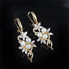 tanie Kolczyki-Damskie Kolczyki wiszące Kwiatowy Perłowy Posrebrzany Kwiat Biżuteria Golden Ślub Impreza Codzienny Casual Biżuteria kostiumowa