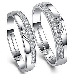 Férfi Női Páros gyűrűk Állítható Ezüst Kocka cirkónia Ékszerek Kompatibilitás Esküvő Parti Napi Hétköznapi