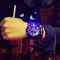 Erkek Bilek Saati Benzersiz Yaratıcı İzle Quartz LED Silikon Bant Siyah Siyah/Kırmızı Siyah/Beyaz Yeşil/Siyah Siyah/Mavi