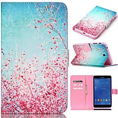 Недорогие Чехлы и кейсы для Galaxy Tab 4 10.1-Для Кейс для  Samsung Galaxy Бумажник для карт / Кошелек / со стендом / Флип / С узором Кейс для Чехол Кейс для Цветы Искусственная кожа