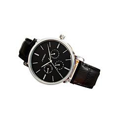 preiswerte Herrenuhren-SINOBI Herrn Armbanduhren für den Alltag Leder Band Armbanduhr Schwarz