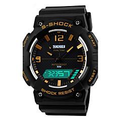 お買い得  メンズ腕時計-男性用 スポーツウォッチ / リストウォッチ アラーム / カレンダー / クロノグラフ付き PU バンド チャーム ブラック / 耐水 / LED / 2タイムゾーン