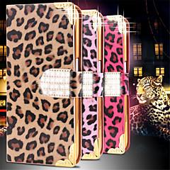 For Samsung Galaxy etui Pung Kortholder Rhinsten Med stativ Flip Etui Heldækkende Etui Leopardmønster Kunstlæder for SamsungS6 edge S6 S5